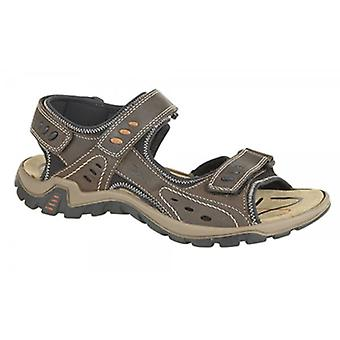 IMAC Lucas Mens Leather Padded Sports Sandals Brown