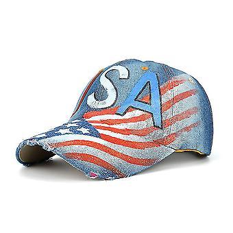 Chapeau de snapback extérieur usa flag denim peint à la main