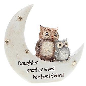 Joe Davies nattugglor på månen dotter handmålad harts figurin 311053