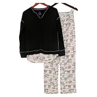 Cuddl Duds Women's Comfortwear Novelty Pajama Set Black A310293
