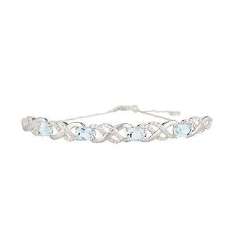 Bracciale in oro bianco diamante e topazio