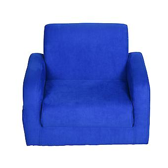 HOMCOM 2 In 1 Kids Children Sofa Chair Bed Folding Couch Soft Flannel Foam Toddler Furniture for Playroom Bedroom Living Room Blue