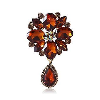 Elegante Damen Brosche Dewdrop Corsage Diamant eingelegt Brosche Pin rot