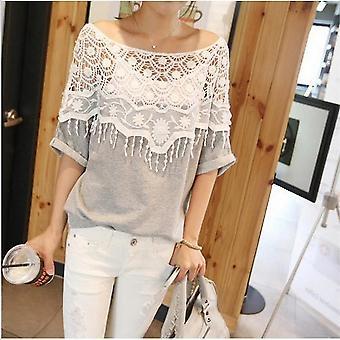 Hollow Out Lace Udskæring Kvinder Hæklet Cape Collar Batwing Ærme Toppe T-shirt
