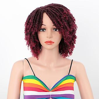 Wigs for women brown gradient short afro kinky curly synthetic women's wigs for heat resistant full wigs