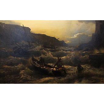 trasporto dopo un temporale a porto venere nel golfo della spezia,Andreas Achenbach
