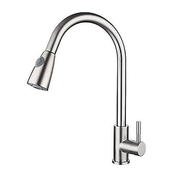Pull Out Kitchen Faucet With Sprayer Brushed Stainless Steel Sink Faucets