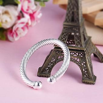 B030 Men Cool Silver Plated Twisted Round Cuff Bangle Bracelet Hand Jewelry