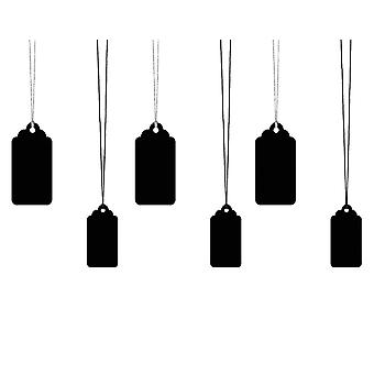 LAST FEW - Black Card Tag & Twine Set for Gift Wrapping - 6 Tags