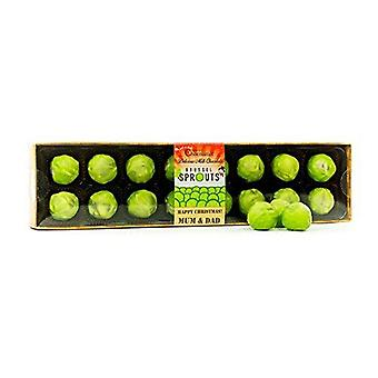 Brussel Sprout Chocolate Truffles, 16 Pack, Christmas Mum and Dad Caption Christmas Chocolate Gift