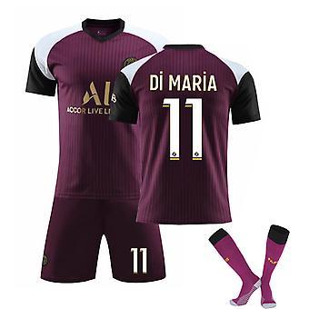 Di Maria #11 Jersey 2021-2022 New Season Paris Soccer T-Shirts Jersey Set för barnungdomar