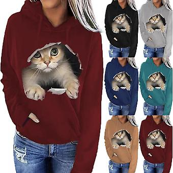 Sweater Jacket Clothes New Trend Women's Long-sleeved Cat Casual Hooded Green