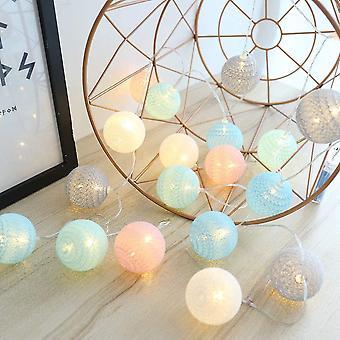 Puuvillapallovalo Garland Kodintekstiilit Joulukoristeet 4,5m Led Light Ball Baby Wedding Room Decoration [a ++ Energy Level]