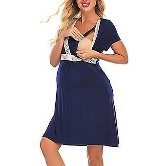 Women Maternity Dress Nursing Breastfeeding Pregnant Lace Skirt