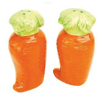 Orange Carrots Veggies Ceramic Salt and Pepper Shaker Set