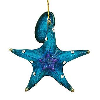 Cape Shore blauwe zeester met Rhinestones Holiday Ornament hars van 3,5 Inch