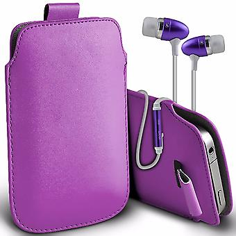 """i-Tronixs Premium Stylish Faux Leather Pull Tab Pouch Skin Case Cover with Aluminium Stereo Hands Free Earphone For Lava Iris Fuel F1 (5"""") - Purple"""