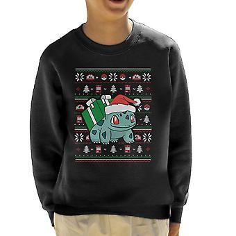 Christmas Bulbasaur Knit Pattern Pokemon Kid's Sweatshirt