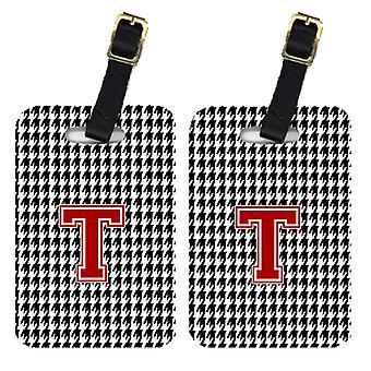 Pair of 2 Monogram - Houndstooth Black Initial T Monogram Initial Luggage Tag