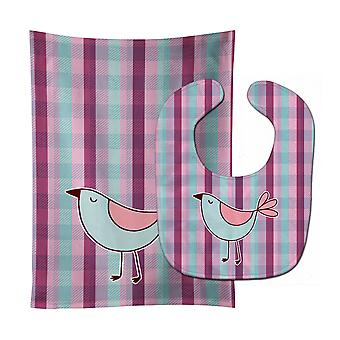 Carolines Treasures  BB6833STBU Bird on Purple Plaid Baby Bib & Burp Cloth