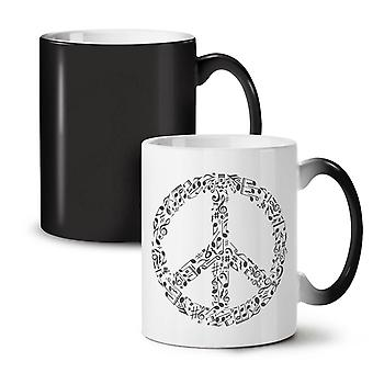 Peace Sign Music Rasta NEW Black Colour Changing Tea Coffee Ceramic Mug 11 oz | Wellcoda