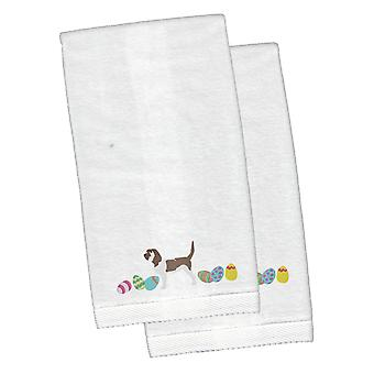 Grand Basset Griffon Easter White Embroidered Plush Hand Towel Set of 2