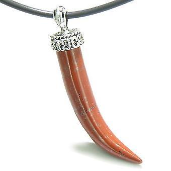 Amulett italienische Horn Glücksbringer roter Jaspis Edelstein glauben Befugnisse Anhänger an Kautschuk-Schnur-Halskette