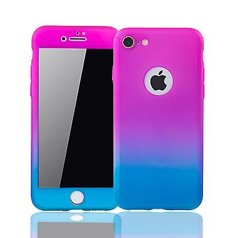 Apple iPhone 8 Handy-Hülle Schutz-Case Full-Cover Panzer Schutz Glas Pink / Blau