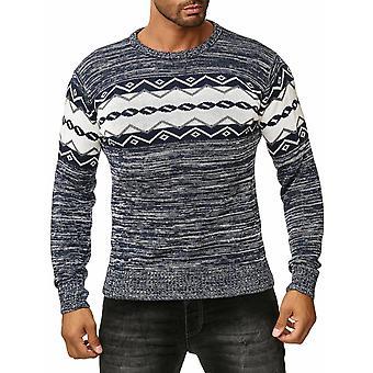Mens Longsleeve jacquard norvégien Pullover Sweat Shirt Fine tricoté chiné