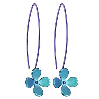 Ti2 Titanium 13mm fire Petal blomst dråbe øreringe - Kingfisher Blue