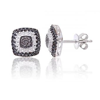 Star Wedding Rings Sterling Silver Sqaure Earring Set With Black And White Diamonds