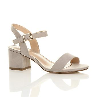 Ajvani kvinners midt lav blokkere hæl peep toe ankelen stroppen strappy partiet sandaler