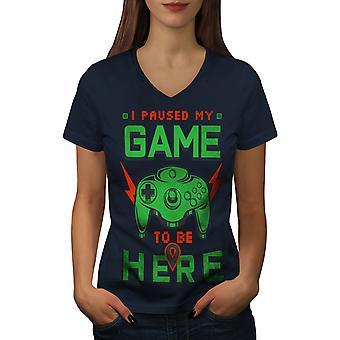 Paused My Game Women NavyV-Neck T-shirt | Wellcoda