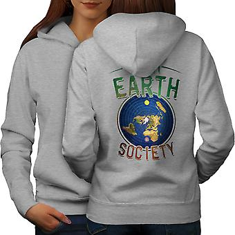 Flat Earth Society Women GreyHoodie Back | Wellcoda