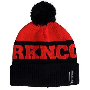 Darkncold Inner City Pom Pom Beanie Hat Black Red