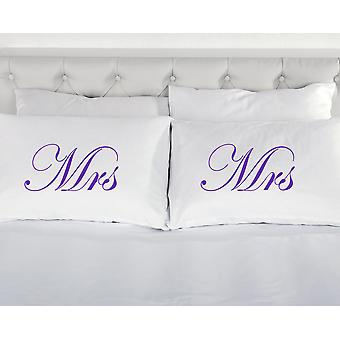 White with Purple Mrs and Mrs Pillowcases