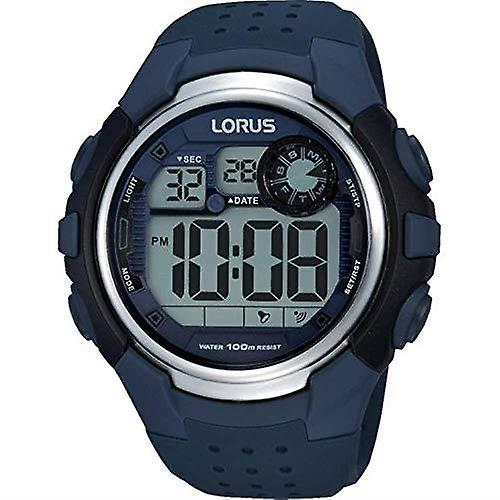 Lorus Alarm Chronograph Blue Rubber Strap Digital Men's Watch R2387KX9