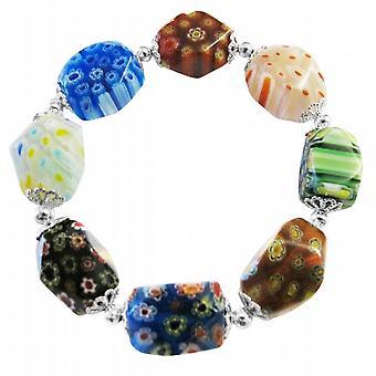 Elastisk armband Millefiori Muranoglas pärla armband