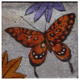 Set de 4 pahare pătrate pahar coastere-Orange Butterfly design