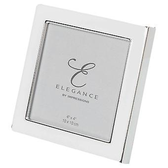 Juliana Elegance Silver Plate and Epoxy Frame 4x4 - White