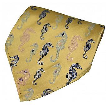 Posh and Dandy Sea Horses Silk Handkerchief - Gold/Pink/Blue