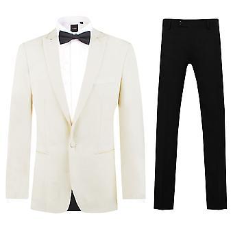 Dobell Mens White 2 Piece Tuxedo Slim Fit Peak Lapel Evening Dinner Suit Black Trousers