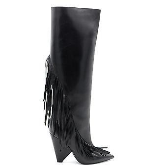 Saint Laurent Ezbc022020 Women's Black Leather Boots