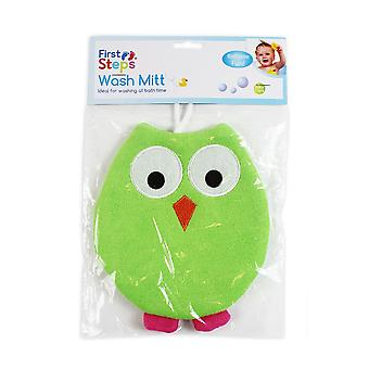 First Steps Owl Wash Mitt
