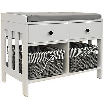 Double -  Storage / Shoe Storage Bench With Two Drawers And Baskets - White / Grey