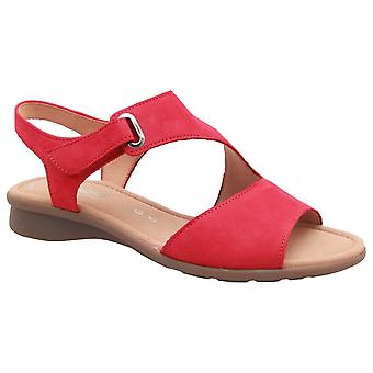 Gabor rouge nubuck Mostic plat sandale