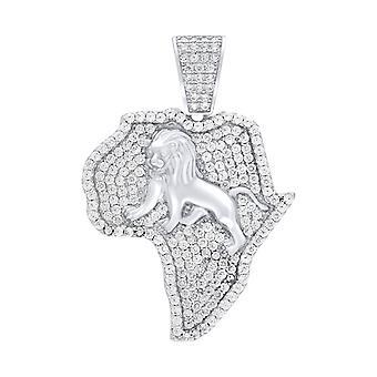 Premium bling 925 Sterling sølv Afrika Lion anheng