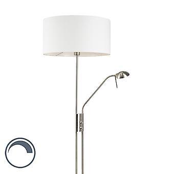 QA-QA Piano lampada in acciaio e bianco con braccio di lettura regolabile incl. LED - Luxor