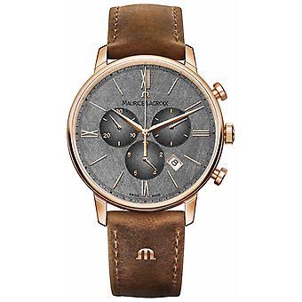 Maurice Lacroix Eliros Chronograph kuvioitu Dial ruskea nahka hihna EL1098-PVP01-210-1 Watch