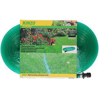 Platte sprinkler slang 15 meter plastic groen